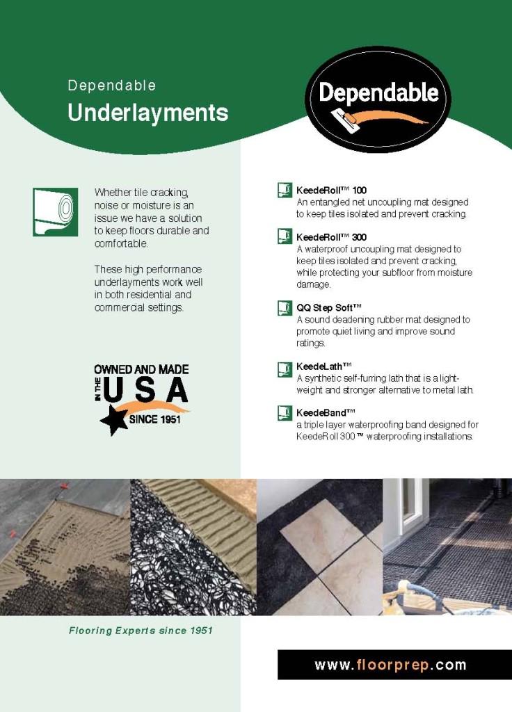 Dependable Underlayment Product Brochure 1